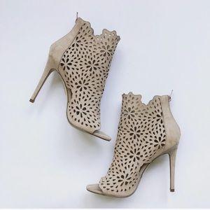 Fatina floral laser cut out open toe stilettos